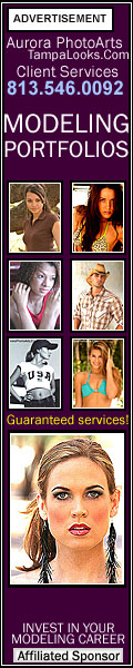Tampa modeling portfolios, modeling photography services, and Tampa model testing photography services by Aurora PhotoArts Tampa photography and design and Tampa Bay Modeling.